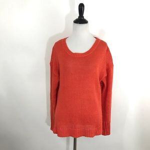 J. Crew Sweater S Orange Linen Textured Beach